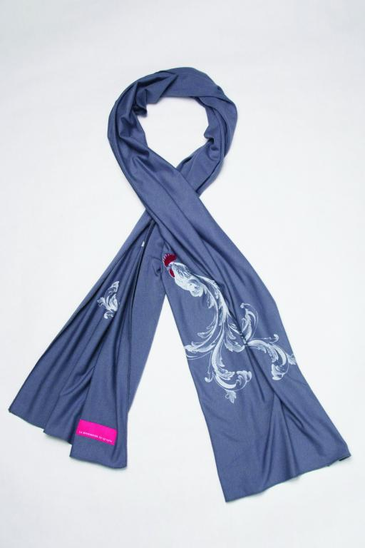 Silkscreen Scarf with a Rooster, 2012