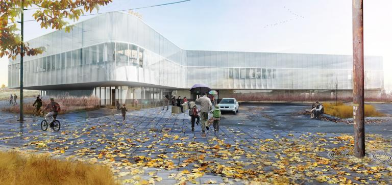 Drummondville library, Drummondville, Quebec, under development