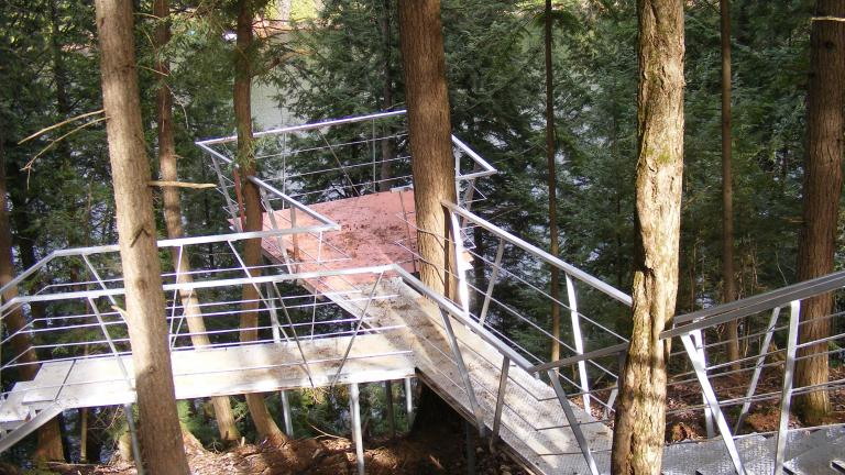 Zipline, gateaway and  relaxation stand in the forest, la Conception, Quebec, 2013