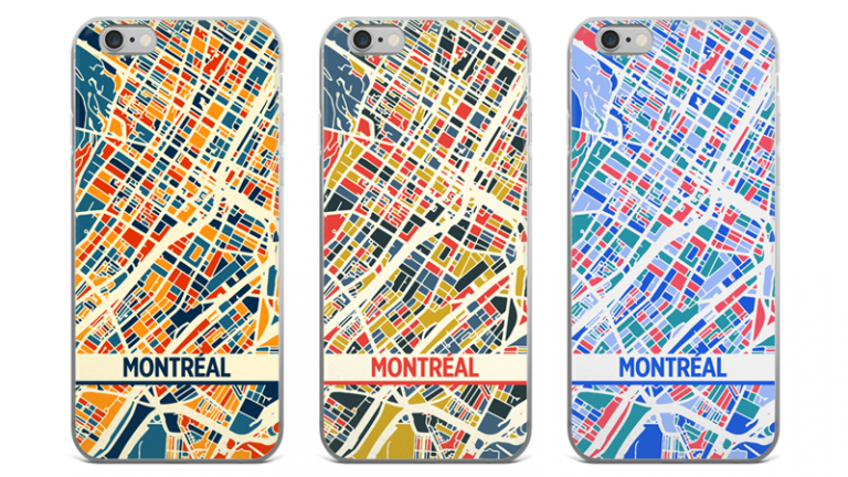 Map phone cases, Montréal, 2016