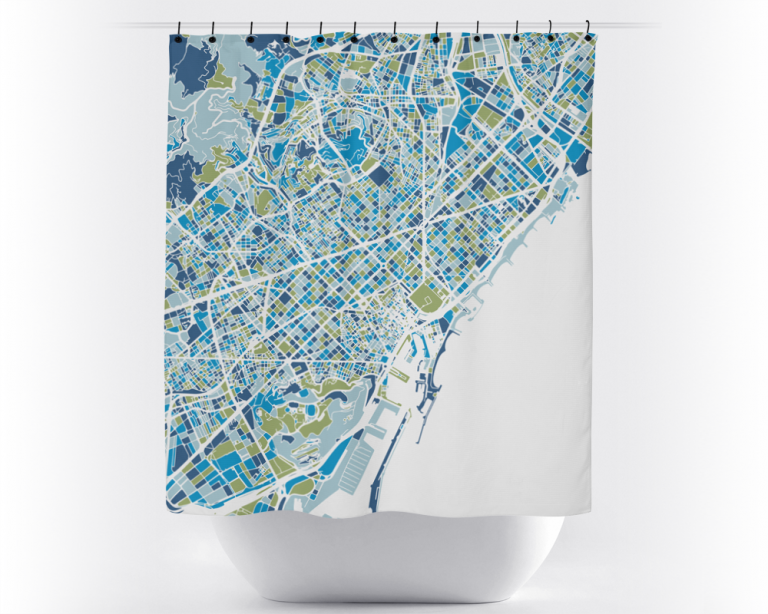 Map shower curtain, Montréal