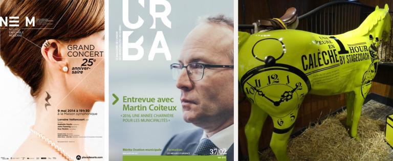 Affiche Le NEM 2013, Revue UMQ 2016, Musée Dorval 2015 (pour Merlicht), Montréal