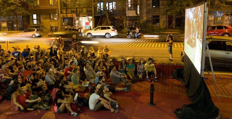 Large red terrace street performance, Montreal, 2015-2016