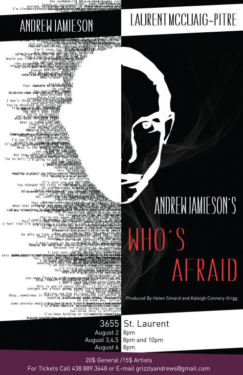 Affiche du théâtre, Andrew Jamieson's Who's Afraid, Montréal, 2016
