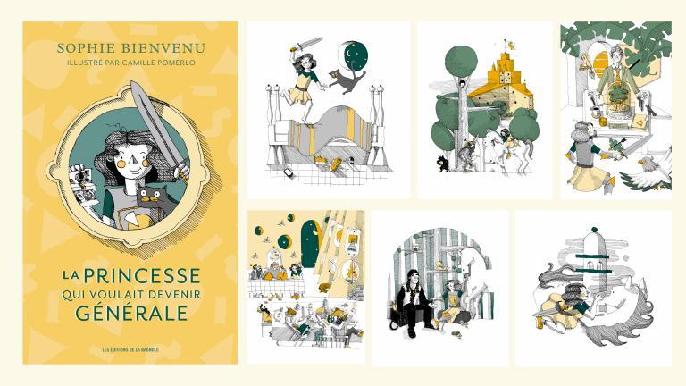 Illustrations for La princesse qui voulait devenir générale, Montréal, 2017