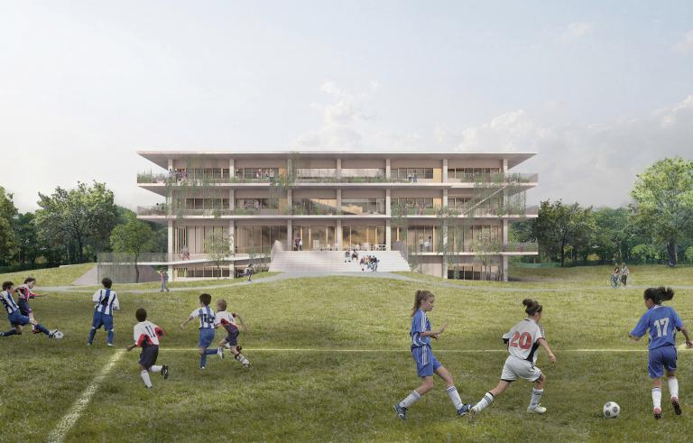 Nouveau pavillon secondaire, Collège Sainte-Anne, Dorval, en cours