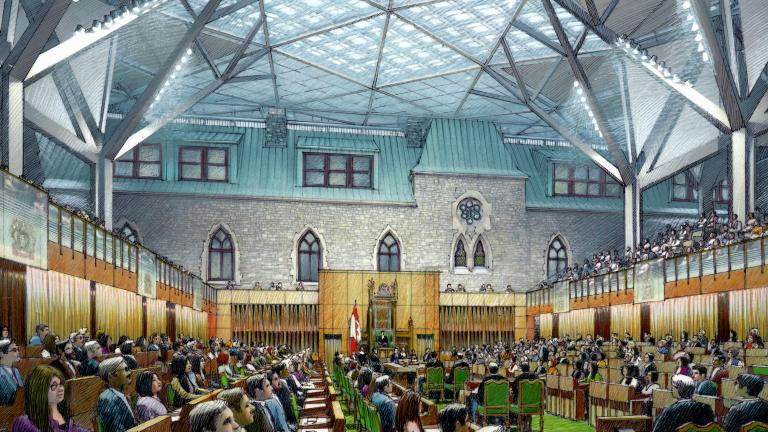 West Block of Parliament, Ottawa, Ontario, being carried out