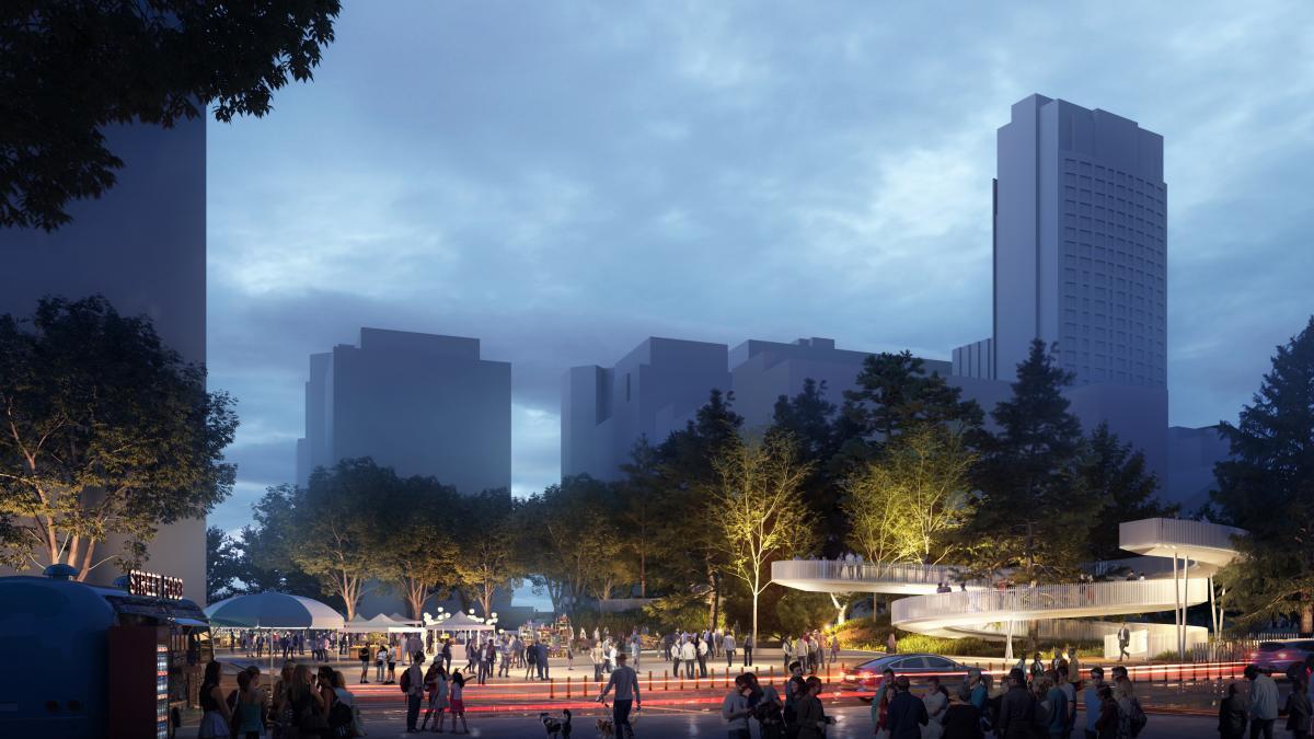 Animation et éclairage de la passerelle et de l'esplanade depuis la rue Jeanne-Mance