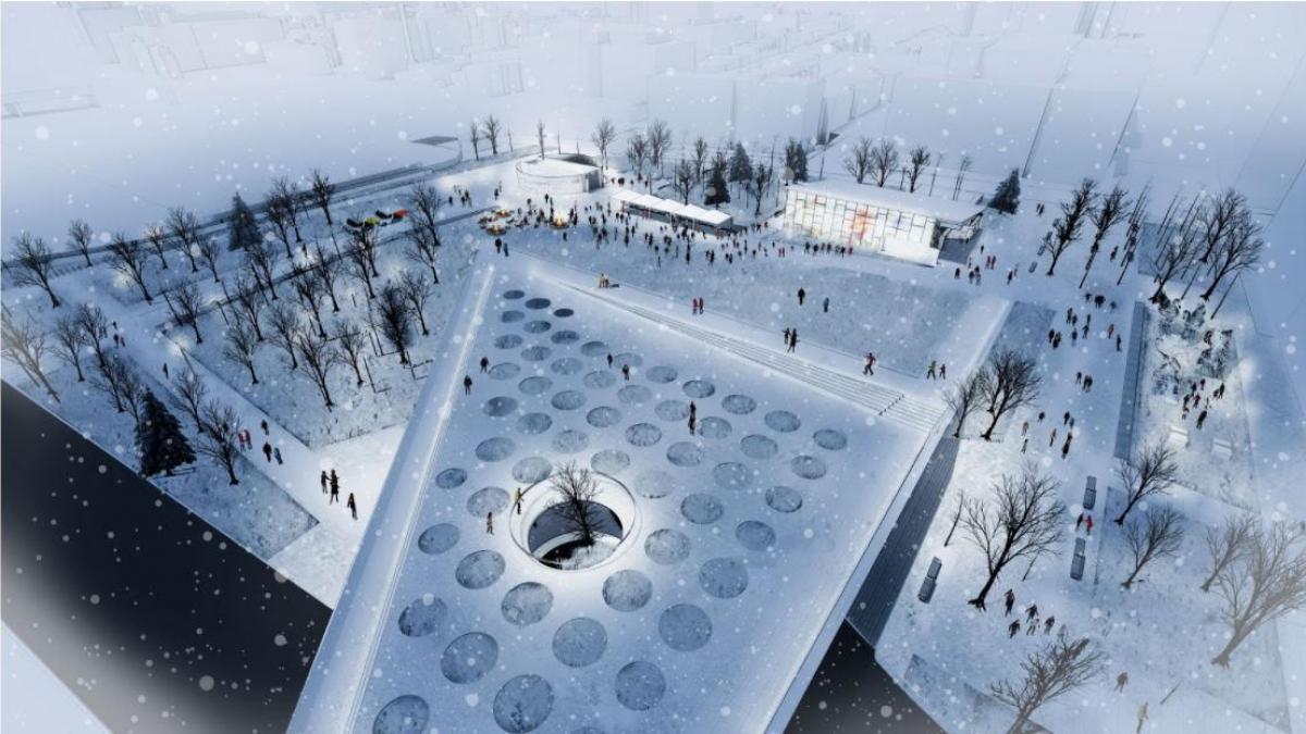 Principe 1 - Vue de la place en hiver
