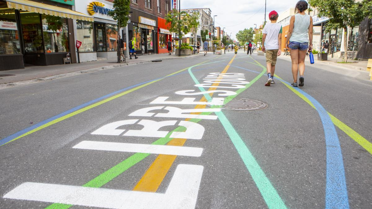 Street surface marking, Ontario Street, Summer 2020