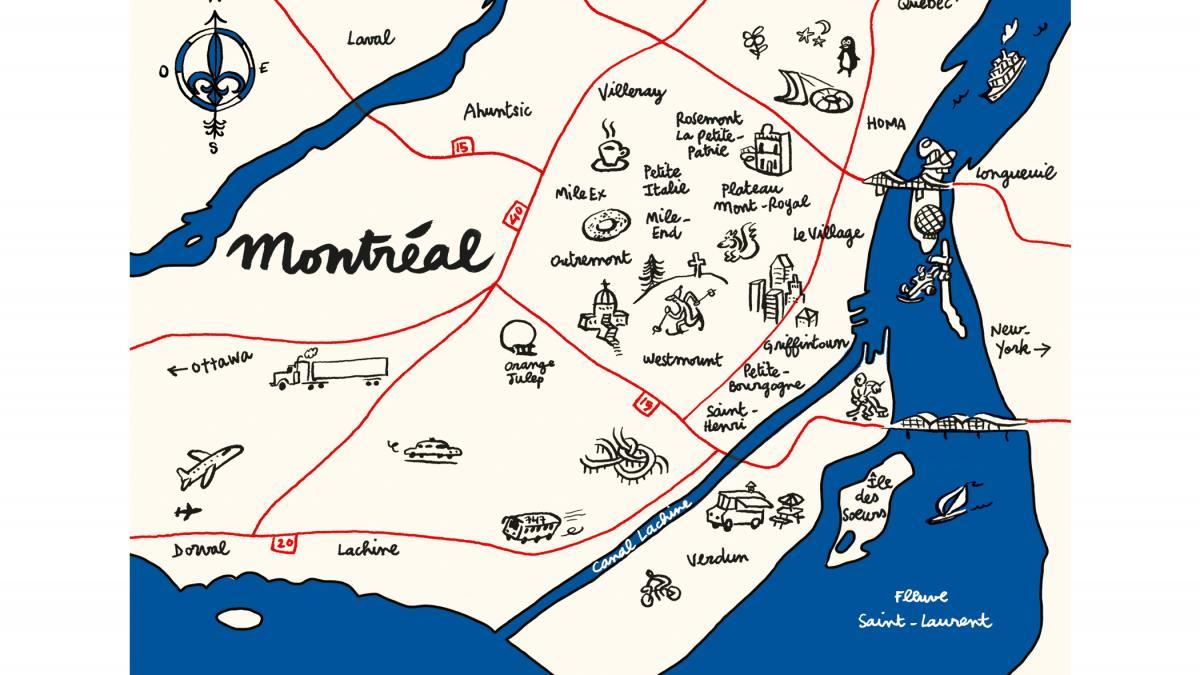 image regarding Printable Map of Montreal known as Artwork Print Shots de Montréal Style Montréal