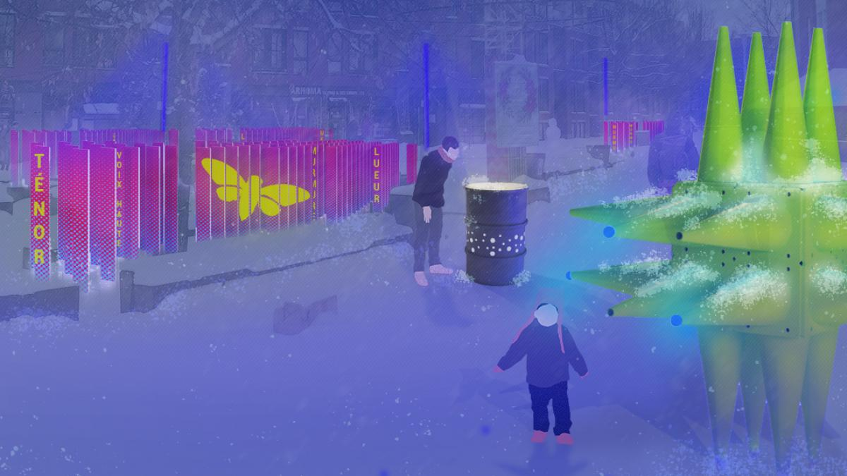 Station hivernale « Les météores bavards », Place Simon-Valois, arrondissement Mercier—Hochelaga-Maisonneuve