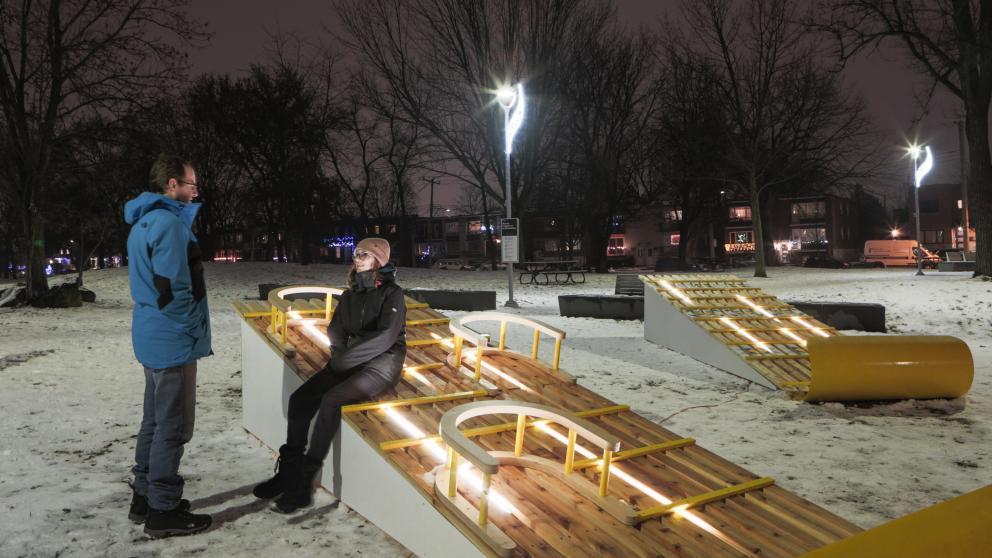 Station hivernale Jour de neige, Parc Tolhurst, arrondissement Ahuntsic-Cartierville