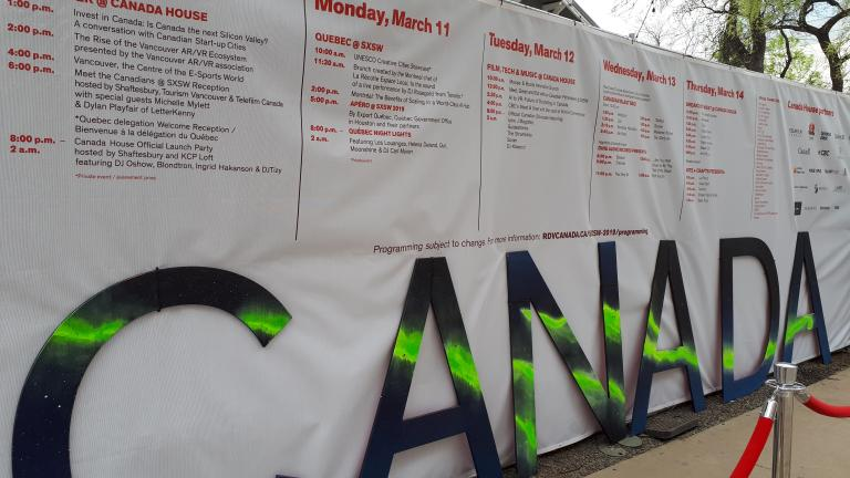 Quebec's programming shown within the activities offered at the Canada House during SXSW 2019