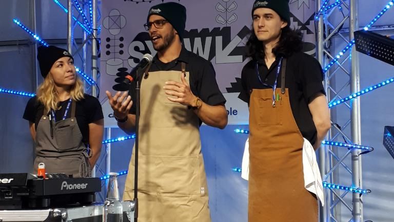 L'équipe du restaurant La Récolte - Espace Local responsable du brunch ; les chefs Lyssa Barrera, Étienne Huot et le sous-chef des brunchs Félix Hallé