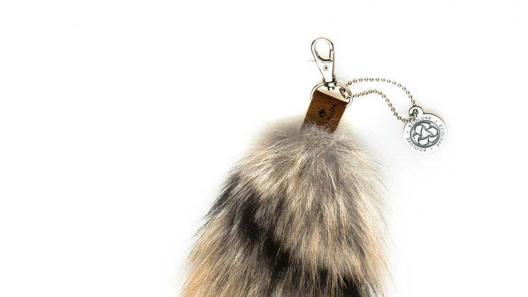 Porte-clés en fourrure de coyote