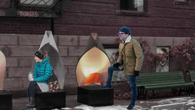 Voyants à voyants Winter Station, Place Kate-McGarrigle, Outremont Borough