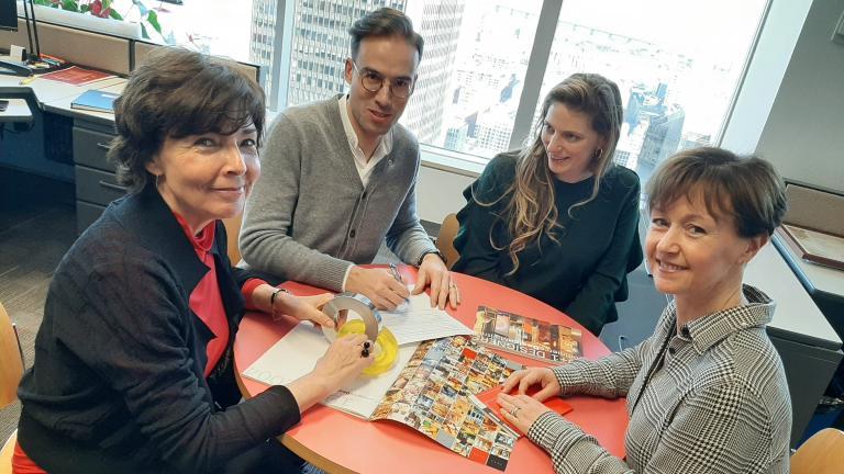 Réunion de travail: Marie-Josée Lacroix, Stijn Debaillie, Ellie Schneider, Sylvie Champeau