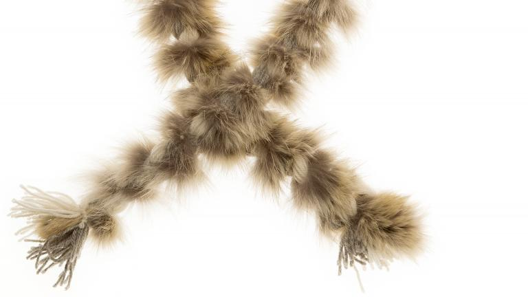 Col-tresse en fourrure et laine
