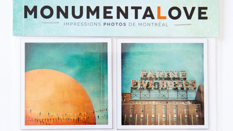 Ensemble de 4 aimants — Orange Julep, Farine Five Roses, aéroport Pierre-Elliot-Trudeau et pont Jacques-Cartier