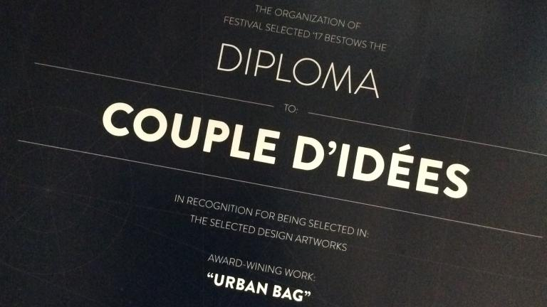 Diploma for COUPLE D'IDÉES' Urban Bag at Selected 2017