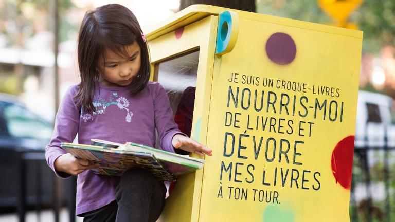 Croque-livres Matulu in Sicard park, by Dikini, Mercier—Hochelaga-Maisonneuve borough