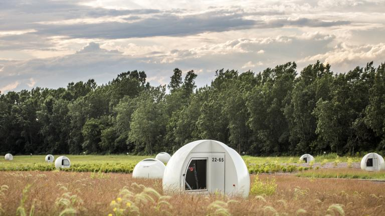 Spheres covering biogas capture wells at Frédéric-Back park, by Morelli Designers, Villeray–Saint-Michel–Parc-Extension borough
