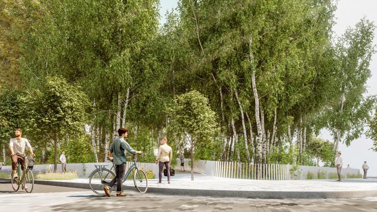 Entrée vers la forêt urbaine et la passerelle au coin De Bleury et du Président-Kennedy