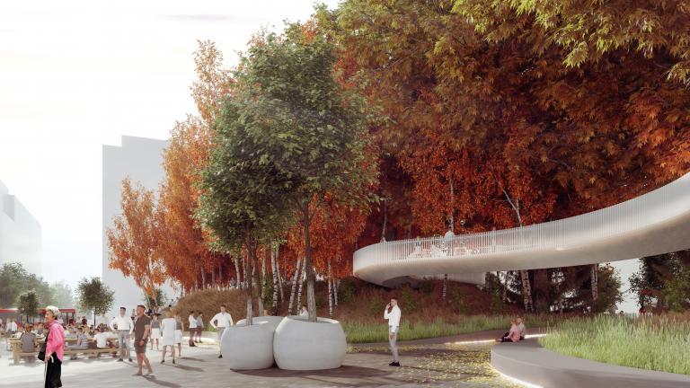 Vue depuis l'esplanade vers l'espace de rencontre sous la passerelle