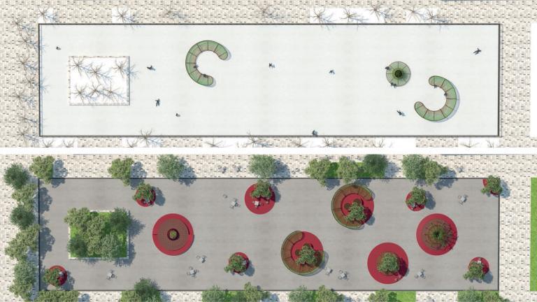 Vue en plan de l'Esplanade