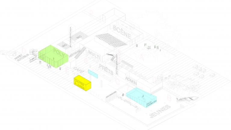 Axonometric projection of the ground floor