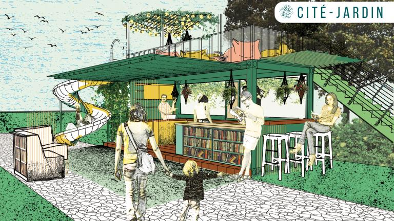 Cité Jardin, concept of a library at the beach