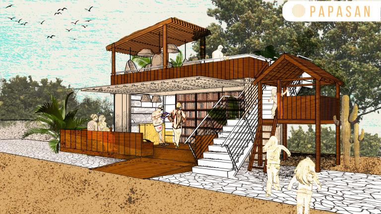 Papasan, concept of a library at the beach