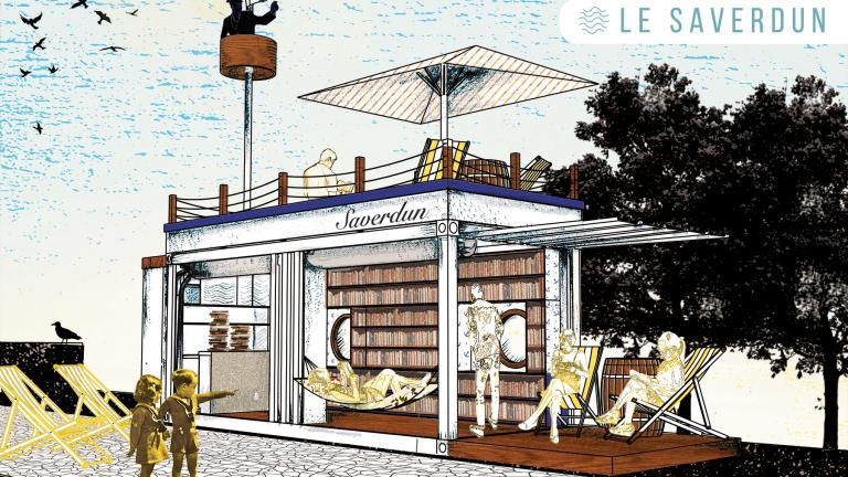 Saverdun, concept of a library at the beach