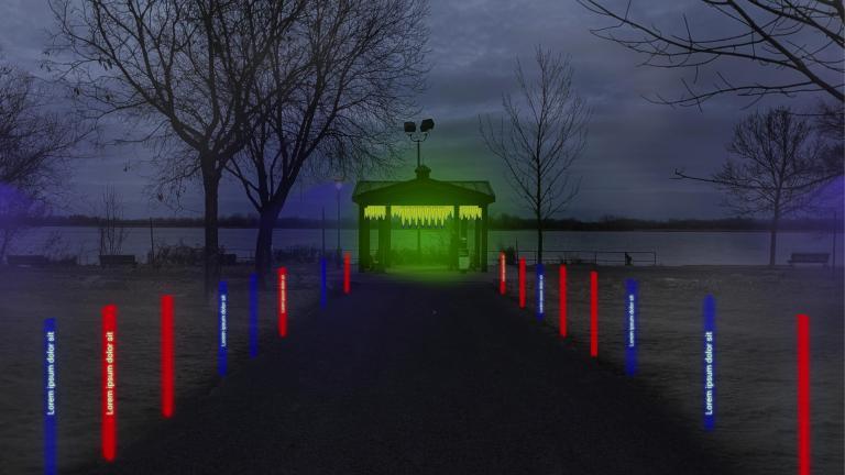 Station hivernale « Le monde se réinvente dans le silence », Promenade Bellerive, arrondissement Mercier–Hochelaga-Maisonneuve