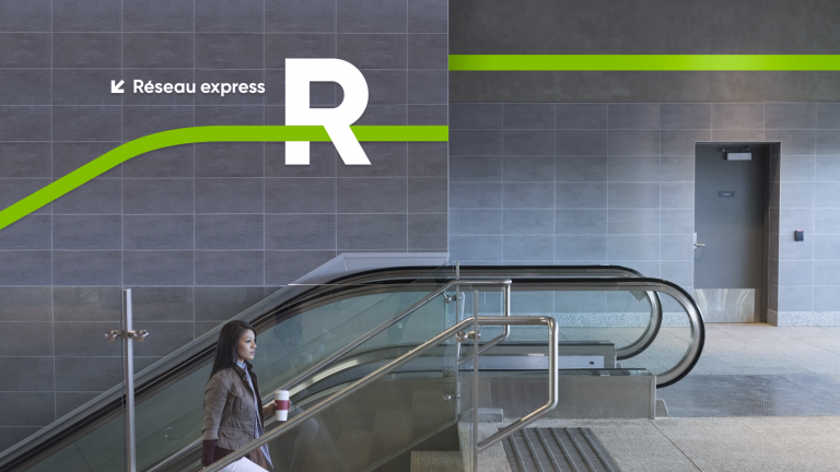 Branding for the R, Réseau express métropolitain (REM), Montréal, 2018
