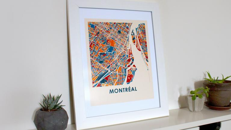 Carte de Montréal encadrée, Montréal, 2018